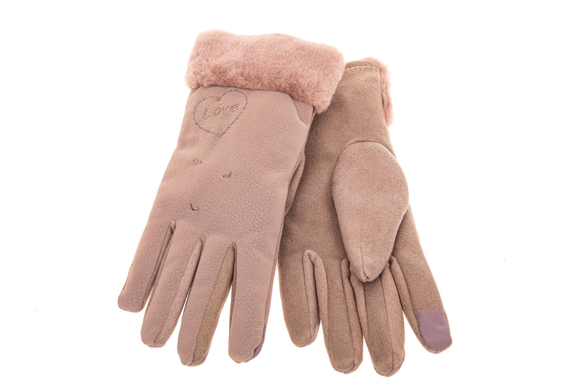 На фото 2 - Комбинированные перчатки женские, размер onesize, цвет пудра