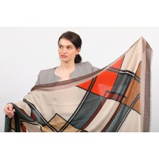 На фото 2 - Легкий палантин платок из хлопка и вискозы с геометричным принтом, цвет оранжевый с зеленым