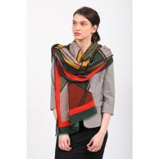 На фото 1 - Палантин платок шарф с геометричным принтом, цвет серый с красным