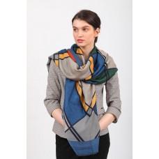 На фото 1 - Красивый палантин платок-шарф, новинка, цвет синий с желтым