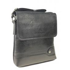 На фото 1 - Мужская сумка-планшет из экокожи, чёрная