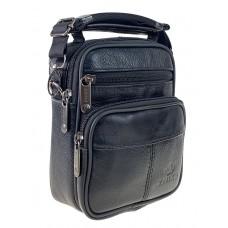 На фото 1 - Мужская поясная сумка из натуральной кожи, цвет чёрный