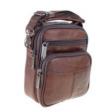 На фото 1 - Мужская поясная сумка из натуральной кожи, цвет коричневый