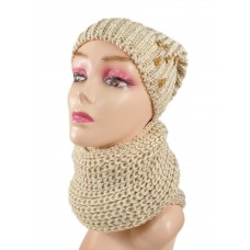 На фото 1 - Комплект женская шапка  и шарф, цвет бежевый