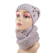 На фото 1 - Комплект женская шапка  и шарф, цвет розово-голубой