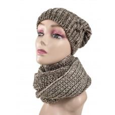 На фото 1 - Комплект женская шапка  и шарф, цвет бело-коричневый