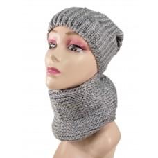 На фото 1 - Комплект женская шапка  и шарф, цвет серый
