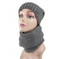 На фото 1 - Комплект женская шапка  и шарф, цвет темно серый