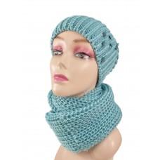 На фото 1 - Комплект женская шапка  и шарф, цвет бирюзовый