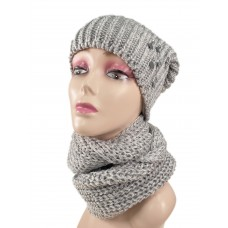 На фото 1 - Комплект женская шапка  и шарф, цвет светло серый