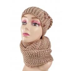 На фото 1 - Комплект женская шапка  и шарф, цвет розовый с коричневым