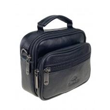 На фото 1 - Небольшая сумка-барсетка на пояс из натуральной кожи, цвет чёрный