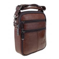 На фото 1 - Мужская сумка на пояс из фактурной натуральной кожи, коричневая