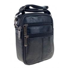 На фото 1 - Мужская сумка на пояс из фактурной натуральной кожи, чёрная