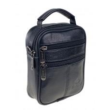 На фото 1 - Небольшая мужская сумка на пояс из кожи, цвет чёрный
