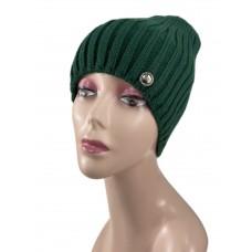 На фото 1 - Шапка женская, цвет зеленый
