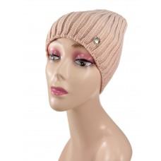 На фото 1 - Шапка женская, цвет светло розовый