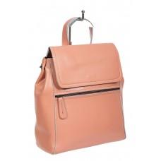На фото 1 - Кожаный женский рюкзак-трансформер, цвет розовый