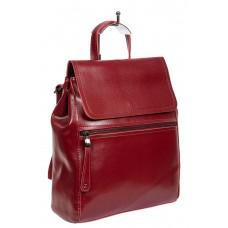 На фото 1 - Кожаный женский рюкзак-трансформер, цвет бордо