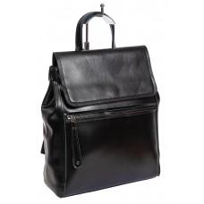 На фото 1 - Кожаный женский рюкзак-трансформер, цвет чёрный