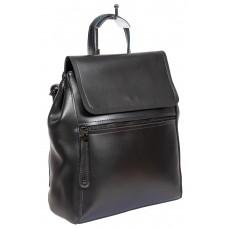 На фото 1 - Кожаный женский рюкзак-трансформер, цвет серый металлик
