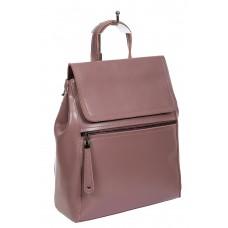 На фото 1 - Кожаный женский рюкзак-трансформер, цвет пыльная роза