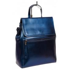 На фото 1 - Кожаный женский рюкзак-трансформер, цвет синий металлик