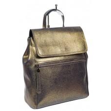 На фото 1 - Кожаный женский рюкзак-трансформер, цвет тёмно-золотистый