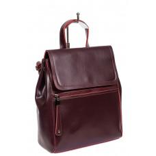 На фото 1 - Кожаный женский рюкзак-трансформер, цвет тёмно-бордовый