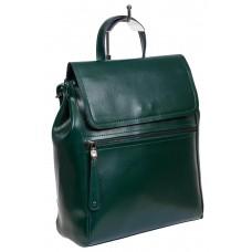 На фото 1 - Кожаный женский рюкзак-трансформер, цвет зелёный