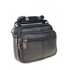На фото 1 - Мужская поясная сумка из натуральной кожи, чёрная