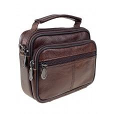 На фото 1 - Маленькая поясная сумка для мужчин из натуральной кожи, цвет коричневый