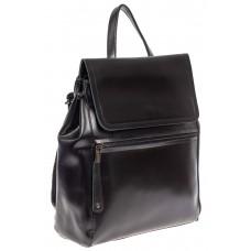На фото 1 - Кожаный женский рюкзак, цвет чёрный графит