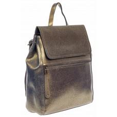 На фото 1 - Кожаный женский рюкзак, цвет золотой
