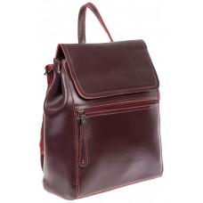 На фото 1 - Кожаный женский рюкзак, цвет бордовый