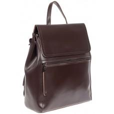 На фото 1 - Кожаный женский рюкзак, цвет шоколад
