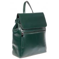 На фото 1 - Кожаный женский рюкзак, цвет зелёный