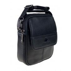 На фото 1 - Поясная сумка для мужчин на пояс из натуральной кожи, цвет чёрный