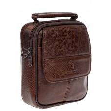 На фото 1 - Поясная мужская сумка из кожи, цвет коричневый