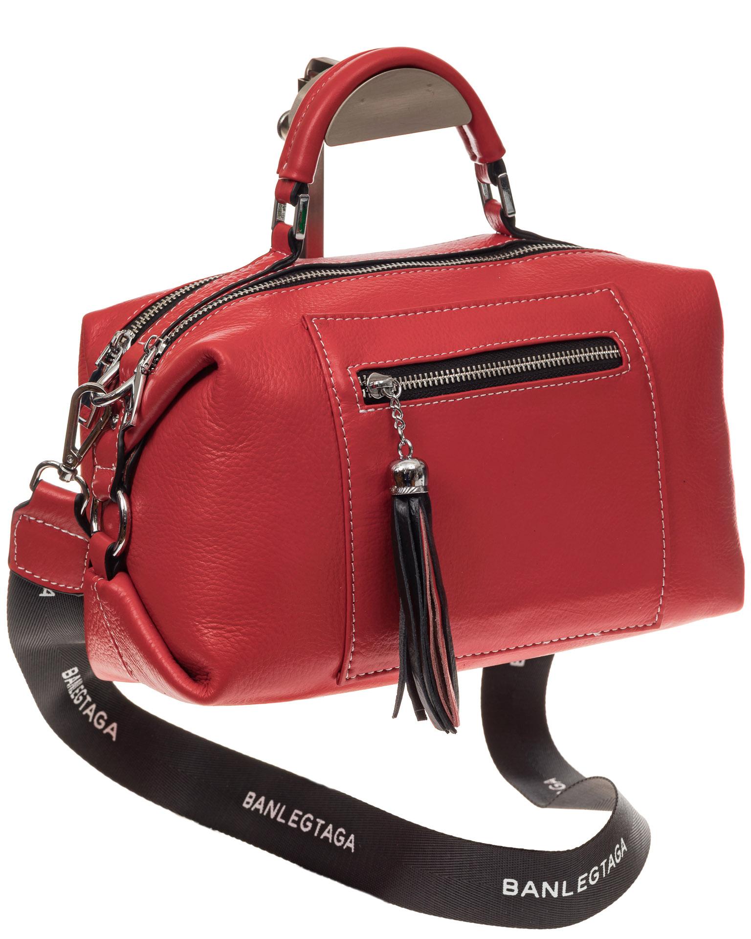 На фото 1 - Женская сумка купол из натуральной кожи, цвет красный