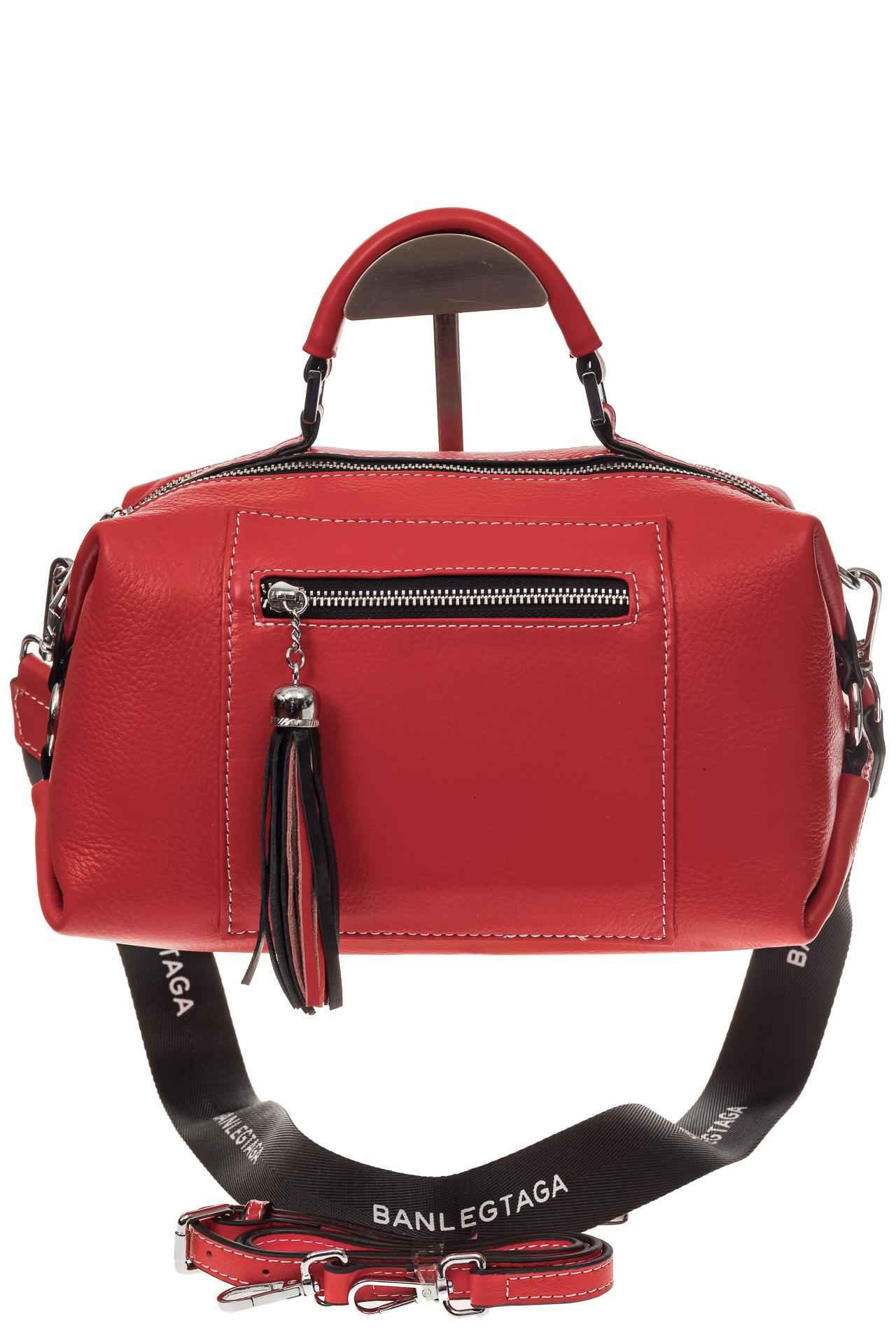 На фото 2 - Женская сумка купол из натуральной кожи, цвет красный