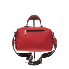 На фото 3 - Женская сумка купол из натуральной кожи, цвет красный