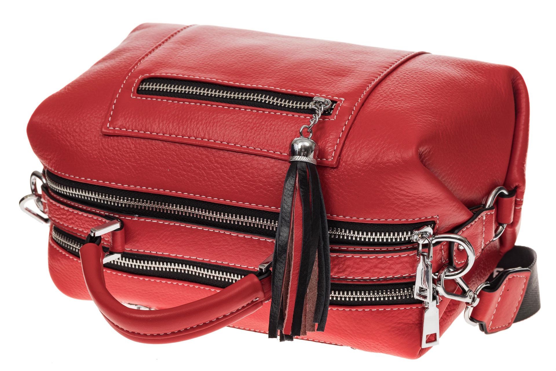На фото 4 - Женская сумка купол из натуральной кожи, цвет красный