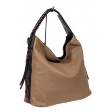На фото 1 - Большая сумка шоппер из искусственной кожи, цвет бежевый