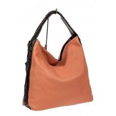 На фото 1 - Большая сумка шоппер из искусственной кожи, цвет пудра