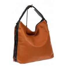 На фото 1 - Большая сумка шоппер из искусственной кожи, цвет рыжий