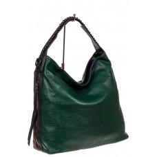 На фото 1 - Большая сумка шоппер из искусственной кожи, цвет зеленый
