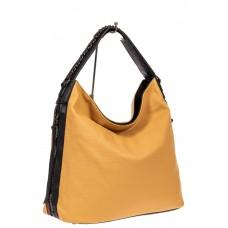На фото 1 - Большая сумка шоппер из искусственной кожи, цвет желто-коричневый