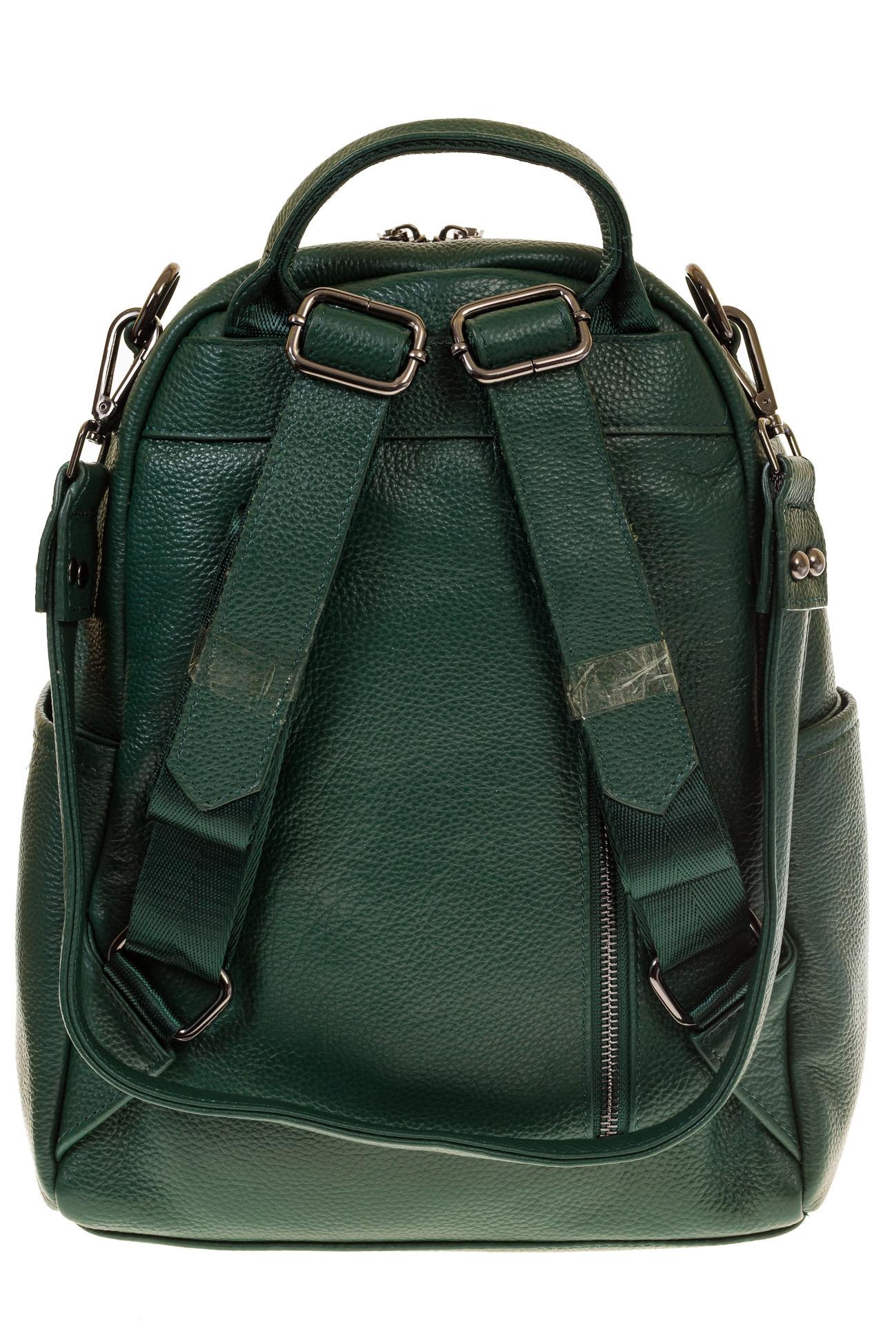 На фото 3 - Зеленый рюкзак-трансформер из натуральной кожи 1015RK5