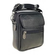 На фото 1 - Кожаная мужская сумка на пояс, чёрный цвет